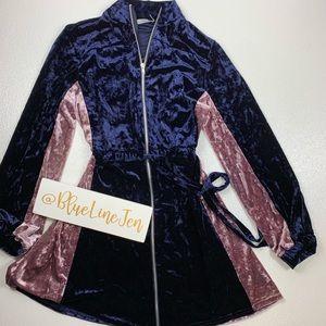 ASOS Velour Tie Waist Full Zipper Mini Dress